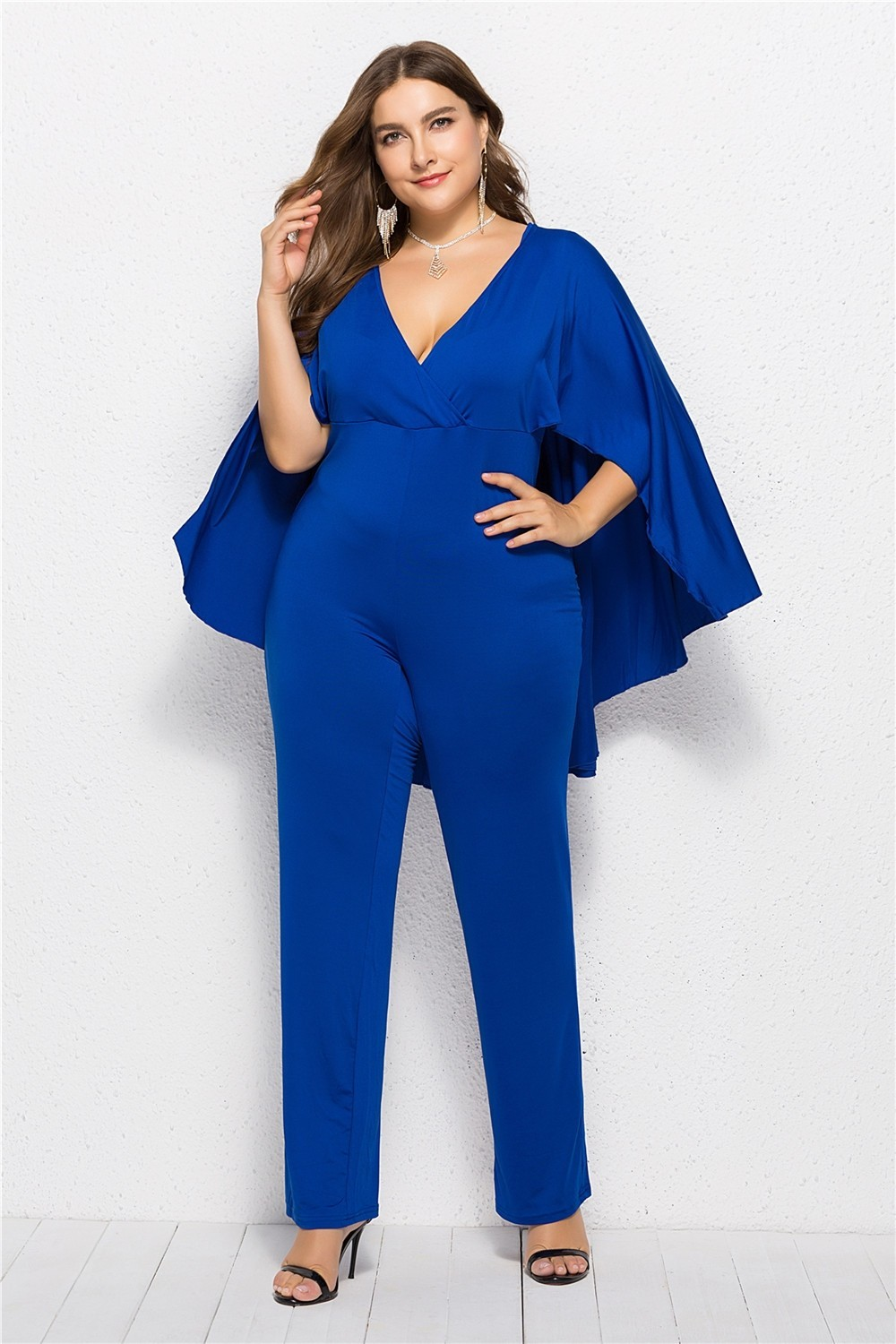 883e3e2449f Zoom · Charming Deep V Neck Royal Woman Clothing Plus Size Party Evening  Jumpsuit With Cape