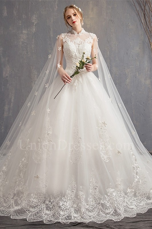 Ball Gown High Neck Cap Sleeve Corset Open Back Beaded Lace Tulle Wedding Dress