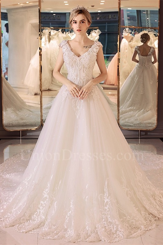 A Line V Neck Cap Sleeve Corset Crystal Beaded Lace Tulle Wedding Dress
