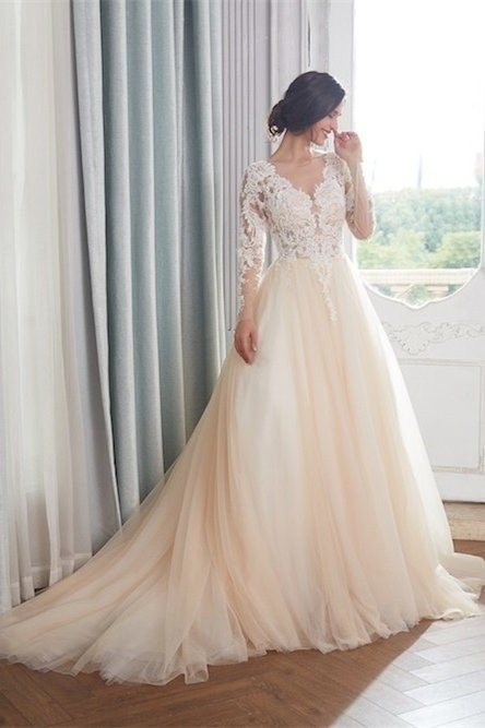 Princess V Neck Champagne Colored Tulle Embroidery Wedding Dress Sheer Back Long Sleeves