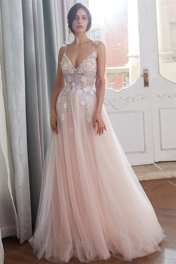 factory authentic first rate many fashionable Romantic A Line Spaghetti Straps Blush Pink Tulle Beaded Wedding Dress With  Flowers