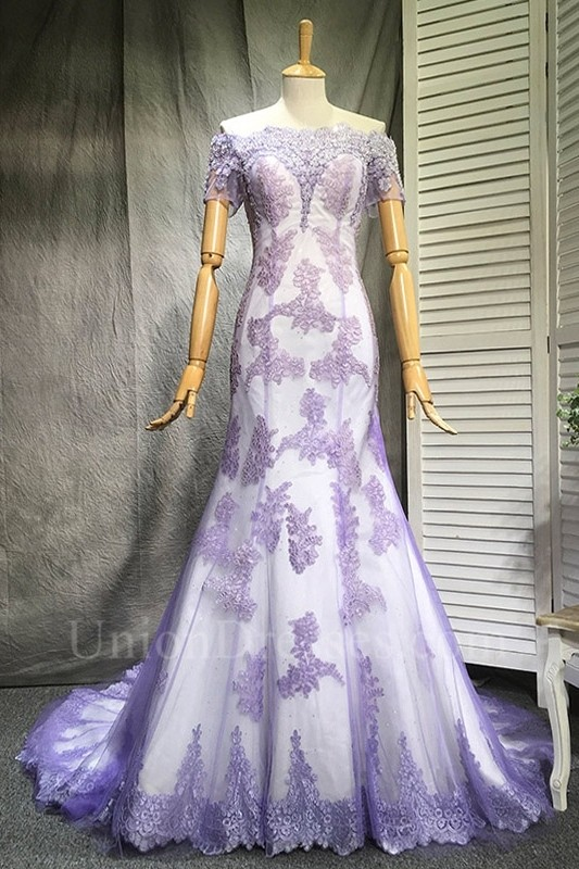 Mermaid Off The Shoulder Short Sleeve Sheer Back Lavender Lace White Satin Prom Evening Dress