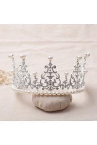 Shinning Swarovski Crystal Wedding Bridal Tiara Crown With Pearls