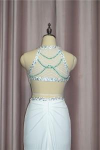 Sexy Mermaid Crystal Beaded Prom Evening Dress High Neck Sleeveless With Cutouts