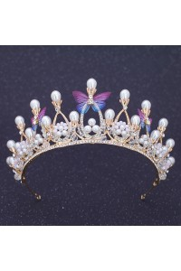 Fabulous Alloy Crystal Gold Wedding Bridal Tiara Crown With Pearls And Butterfly