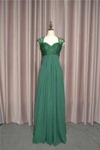Empire Green Lace Chiffon Beaded Prom Party Dress Queen Anne Neckline Cap Sleeves Sheer Back