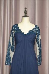 Elegant A Line Ruched Navy Blue Prom Evening Dress V Neck Long Lace Sleeves