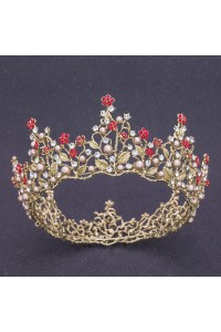 Beautiful Gold Alloy Red Rhinestone Wedding Bridal Tiara Crown With Pearls