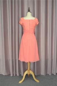 Elegant A Line Ruched Coral Prom Bridesmaid Dress V Neck Short Sleeves With Flower