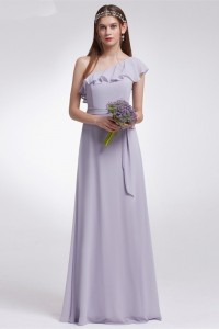 Elegant One Shoulder Lavender Chiffon A Line Prom Bridesmaid Dress With Ruffles And Sash