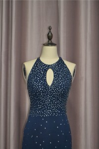 Sparkly Sheath Beaded Navy Blue Prom Party Dress High Neck Backless With Cutouts