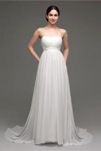 A Line Strapless Chiffon Pearl Beaded Summer Garden Wedding Dress With Buttons
