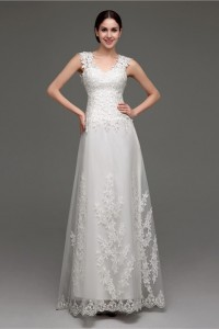 A Line V Neck Sheer Illusion Back Tulle Lace Wedding Dress Sweep Train