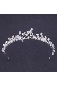 Vintage Alloy Crystal Pearl Wedding Bridal Tiara Crown