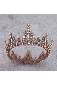 Vintage Brown Alloy Diamond Pearl Wedding Bridal Tiara Crown