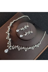 Gorgeous Alloy Diamond Wedding Jewelry Set Including Necklace Earrings
