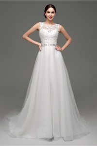 A Line Scoop Neck See Through Back Tulle Lace Applique Wedding Dress Crystals Sash
