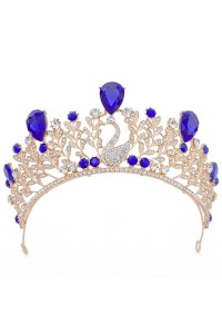 Luxurious Swan Gold Alloy Royal Blue Crystal Wedding Bridal Tiara Crown
