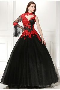 Ball Gown High Neck One Shoulder Crystal Beaded Red Appliques Black Tulle Prom Evening Dress