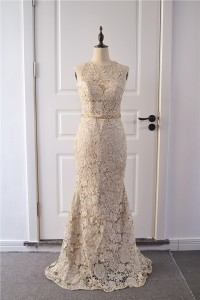 Elegant Mermaid Prom Party Dress High Neck Sleeveless Champagne Lace With Crystals