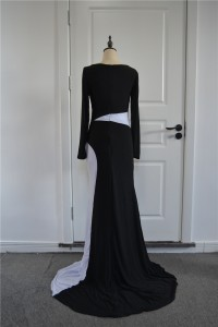 Special Two Tone Black And White Mermaid Prom Party Dress Scoop Long Sleeves