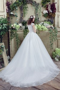Modest Ball Gown Cap Sleeve Organza Lace Wedding Dress Chapel Train