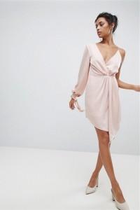 Beautiful Short Mini Sheath V Neck One Shoulder Long Sleeve Pink Woman Casual Dress