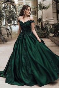 Princess Prom Quinceanera Dress Ball Gown Off The Shoulder Green Taffeta With Lace