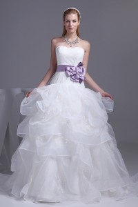 Stunning Ball Gown Sweetheart Corset Beaded Lace Layered Organza Wedding Dress With Lavender Belt