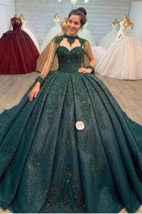 Princess Ball Gown Prom Quinceanera Dress High Neck Sleeveless Beading Teal Lace With Appliues