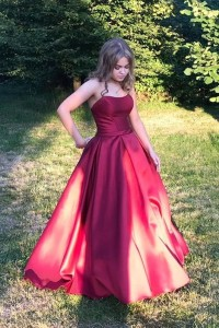 Beautiful Red Ball Gown Prom Quinceanera Dresses Strapless
