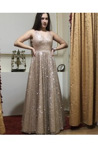Romantic A Line Prom Party Dress V Neck Sleeveless Champagne Sequins
