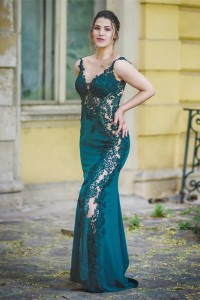 Sexy See Through Green Mermaid Prom Evening Dress V Neck Sleeveless With Appliques