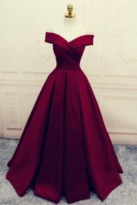 Princess Off The Shoulder Ball Gown Burgundy Prom Quinceanera Dress