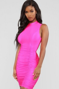 Slim Short Mini Hot Pink Prom Cocktail Dress High Neck Sleeveless