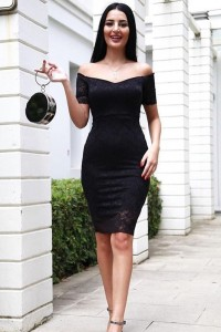 Slim Mini Little Black Prom Cocktail Dress Off The Shoulder Short Lace Sleeves