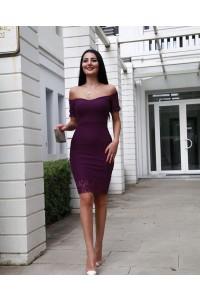 Slim Mini Little Purple Prom Cocktail Dress Off The Shoulder Short Lace Sleeves