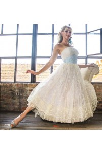 Chic A Line Tea Length Wedding Dress Strapless Blue Sash Ruched Ivory Lace