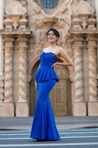 Chic Royal Blue Mermaid Prom Evening Dress Strapless Beading Crystals