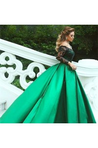 Royal Ball Gown Prom Party Dress Off The Shoulder Long Black Lace Sleeves Green Satin