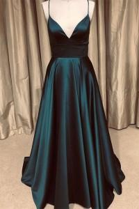 Sparkly A Line Prom Evening Dress V Neck Spaghetti Straps Teal Satin