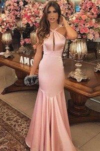 Sexy Pink Mermaid Prom Evening Dress Halter With Cutouts