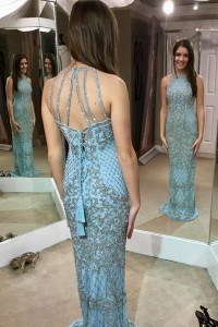 Sexy Sheath Prom Party Dress Halter Corset Blue Tulle With Crystals