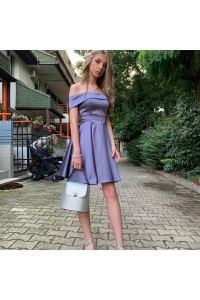Beautiful Short Mini Lavender Prom Party Dress Off The Shoulder