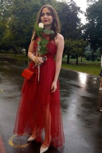 Boho See Through Prom Party Dress Red Tulle High Neck Sleeveless With Beading Lace