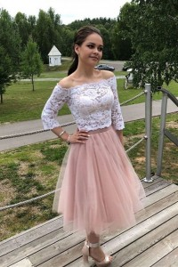 Elegant Two Pieces Prom Party Dress Off The Shoulder 3 4 Sleeves White Lace Pink Tulle