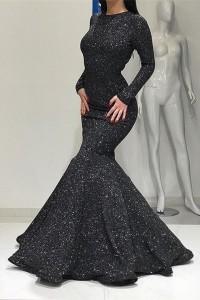 Modest Black Mermaid Prom Evening Dress High Neck Long Sleeves