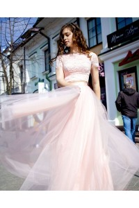 Romantic Two Pieces Prom Evening Dress High Neck Short Lace Sleeves Pink Tulle Skirt