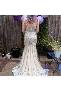 Gorgeous Floral Mermaid Prom Evening Dress V Neck Spaghetti Straps With Crystals