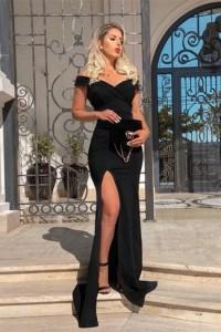 Sexy Sheath Black Prom Evening Dress Off The Shoulder Side Slit